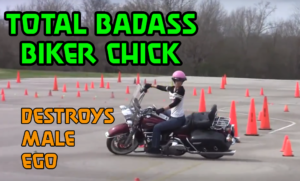 badass biker chick on a harley
