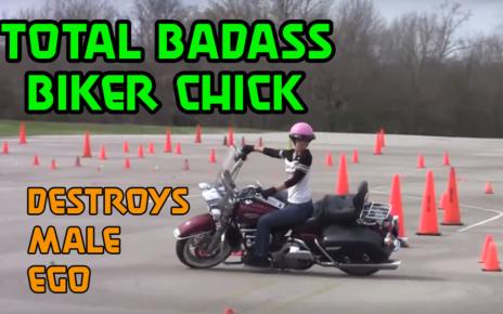 badass biker chick on a harley